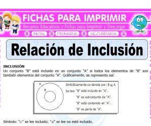 Relación de Inclusión para Quinto de Primaria