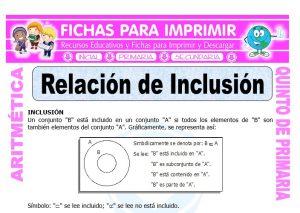 Ficha de Relación de Inclusión para Quinto de Primaria
