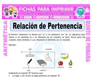 Ficha de Relación de Pertenencia para Quinto de Primaria