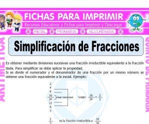 Simplificación de Fracciones para Quinto de Primaria