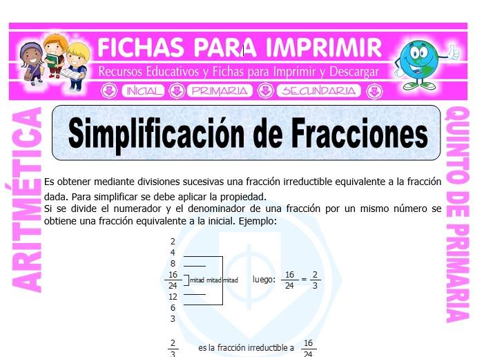 Ficha de Simplificación de Fracciones para Quinto de Primaria