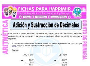 Ficha de Adicion y Sustraccion de Decimales para Quinto de Primaria