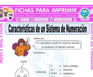 Caracteristicas de un Sistema de Numeracion para Quinto de Primaria