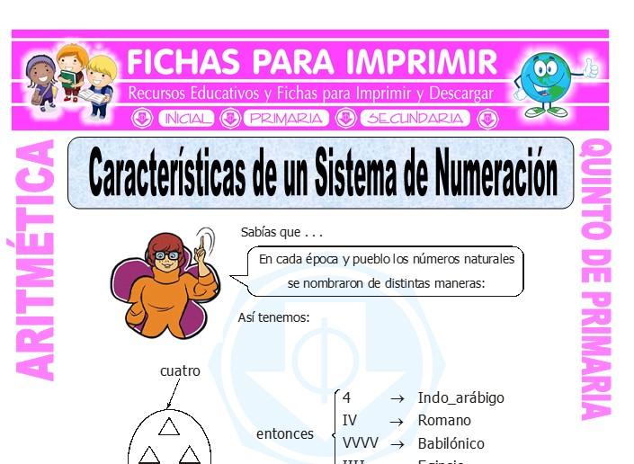 Ficha de Caracteristicas de un Sistema de Numeracion para Quinto de Primaria