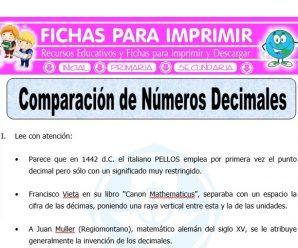 Comparacion de Numeros Decimales para Quinto de Primaria