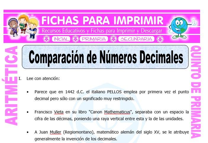 Ficha de Comparacion de Numeros Decimales para Quinto de Primaria
