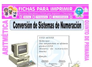 Ficha de Conversion de Sistemas de Numeracion para Quinto de Primaria