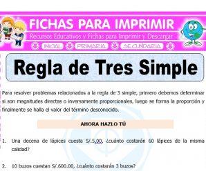 Ejercicios de Regla de Tres Simple para Quinto de Primaria
