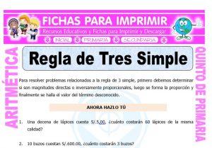 Ficha de Ejercicios de Regla de Tres Simple para Quinto de Primaria