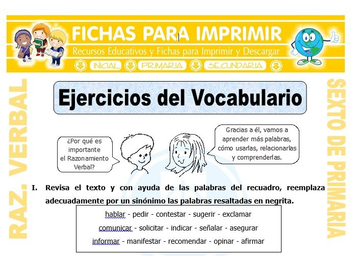 Ficha de Ejercicios del Vocabulario para Quinto de Primaria