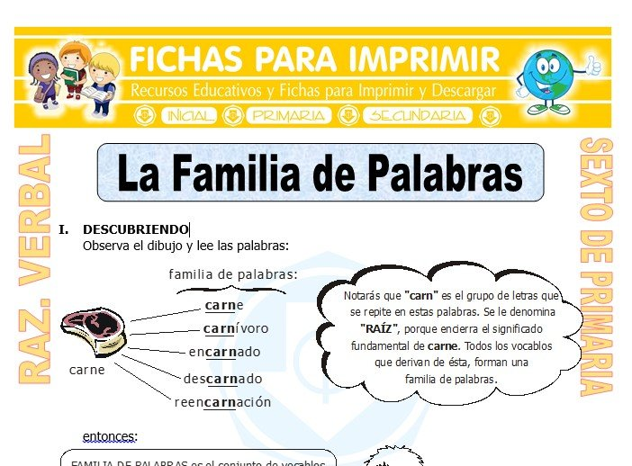 Ficha de La Familia de Palabras para Sexto de Primaria