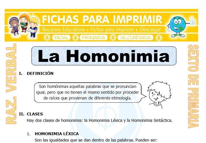 Ficha de La Homonimia para Sexto de Primaria
