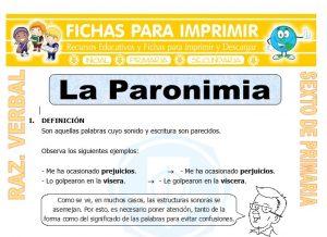 Ficha de La Paronimia para Sexto de Primaria