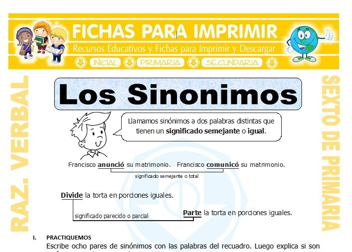 Ficha de Los Sinonimos para Sexto de Primaria