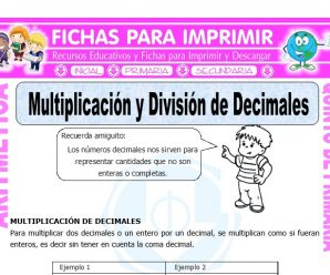 Multiplicacion y Division de Decimales para Quinto de Primaria