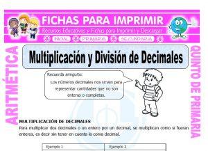 Ficha de Multiplicacion y Division de Decimales para Quinto de Primaria