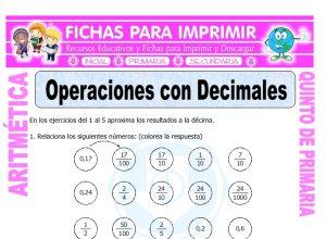 Ficha de Operaciones con Decimales para Quinto de Primaria