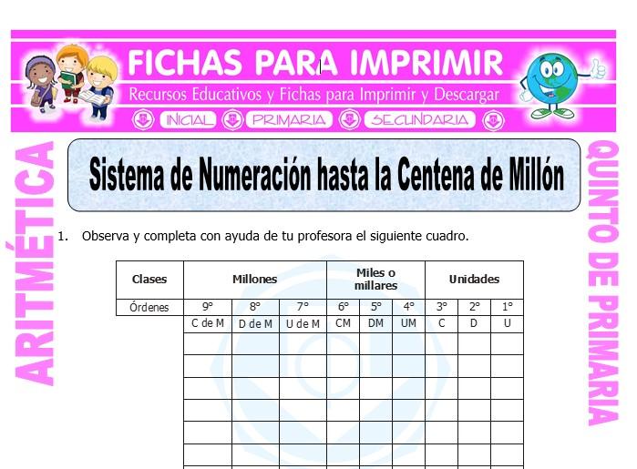 Ficha de Sistema de Numeracion hasta la Centena de Millon para Quinto de Primaria