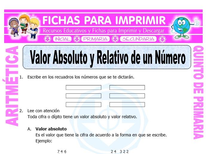 Ficha de Valor Absoluto y Relativo de un Numero para Quinto de Primaria
