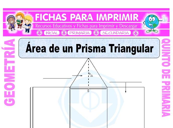 Ficha de Área de un Prisma Triangular para Quinto de Primaria
