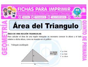 Ficha de Área del Triangulo para Quinto de Primaria