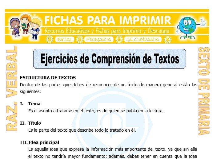 Ficha de Ejercicios de Comprensión de Textos para Sexto de Primaria
