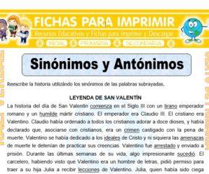 Sinónimos y Antónimos para Sexto de Primaria