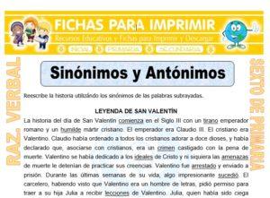 Ficha de Sinónimos y Antónimos para Sexto de Primaria