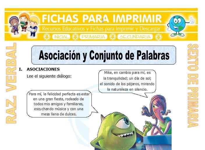 Ficha de Asociación y Conjunto de Palabras para Sexto de Primaria