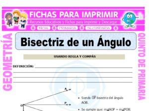 Ficha de Bisectriz de un Ángulo para Quinto de Primaria