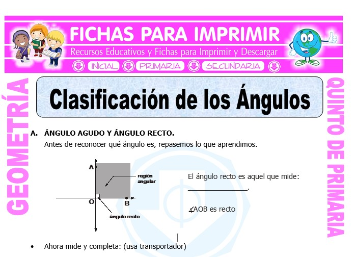 Ficha de Clasificación de los Ángulos para Quinto de Primaria
