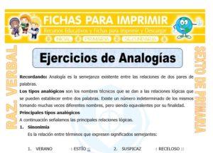 Ficha de Ejercicios de Analogías para Sexto de Primaria