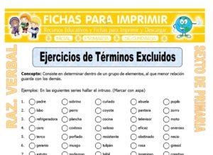 Ficha de Ejercicios de Términos Excluidos para Sexto de Primaria