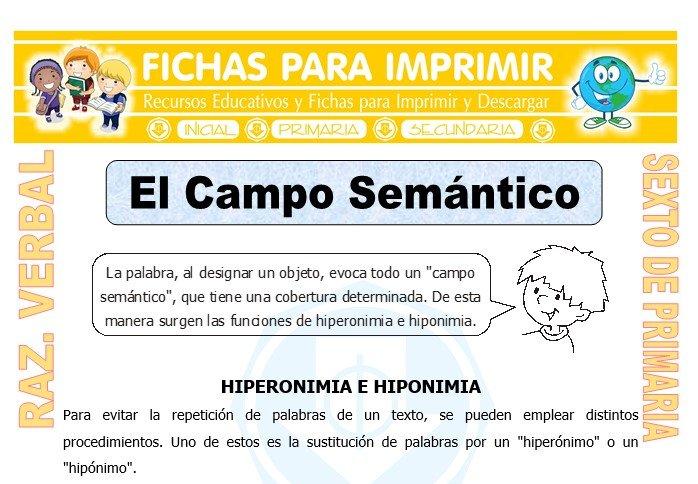 Ficha de El Campo Semántico para Sexto de Primaria