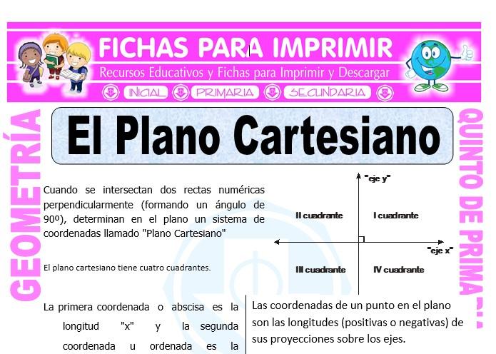 Ficha de El Plano Cartesiano para Quinto de Primaria