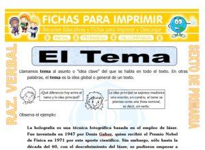 Ficha de El Tema de un Texto para Sexto de Primaria