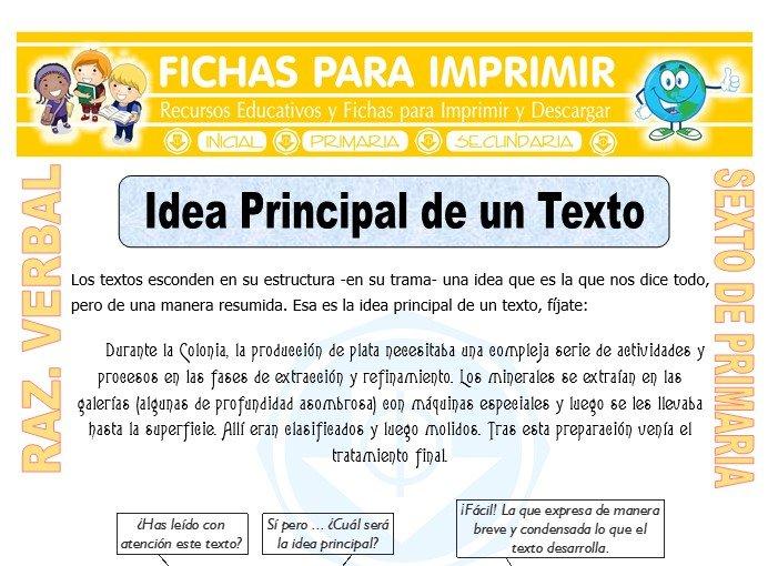 Ficha de Idea Principal de un Texto para Sexto de Primaria