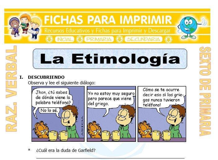 Ficha de La Etimología para Sexto de Primaria