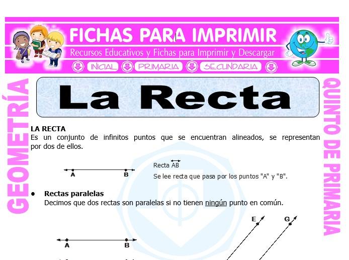 Ficha de La Recta para Quinto de Primaria