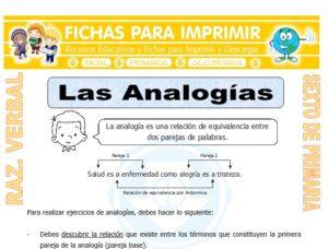 Ficha de Las Analogías para Sexto de Primaria