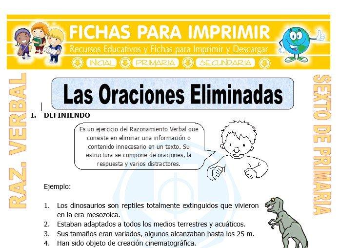 Ficha de Las Oraciones Eliminadas para Sexto de Primaria