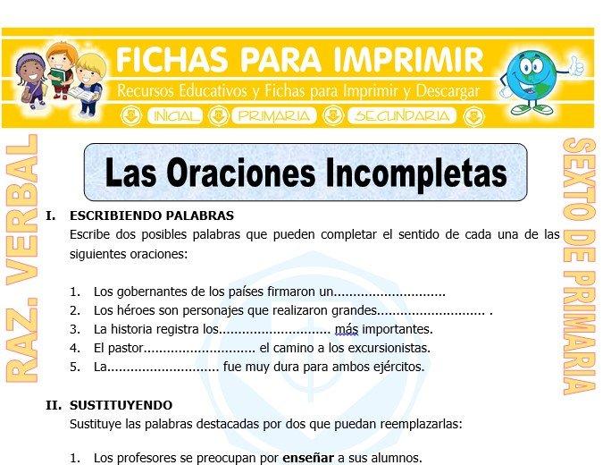 Ficha de Las Oraciones Incompletas para Sexto de Primaria