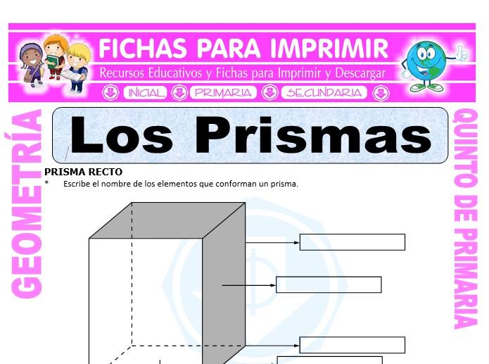 Ficha de Los Prismas para Quinto de Primaria