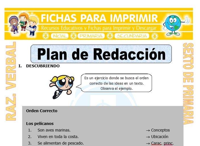 Ficha de Plan de Redacción para Sexto de Primaria