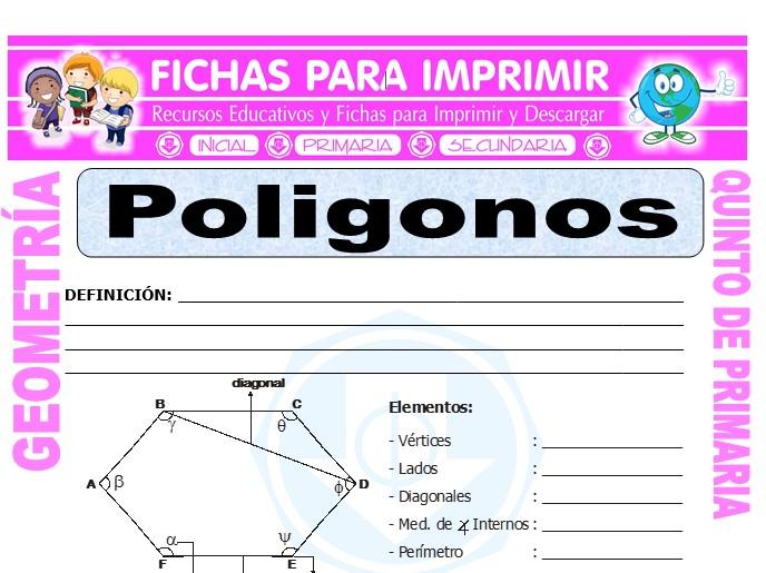 Ficha de Polígonos para Quinto de Primaria
