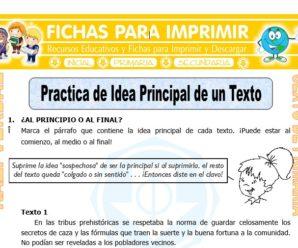 Practica de Idea Principal de un Texto para Sexto de Primaria