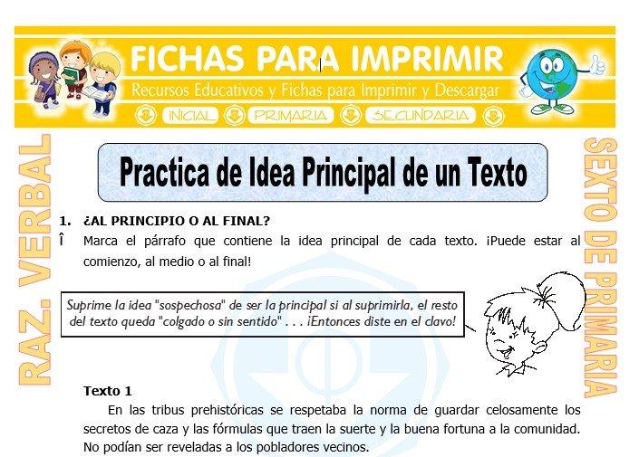 Ficha de Practica de Idea Principal de un Texto para Sexto de Primaria