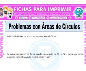 Problemas con Áreas de Círculos para Quinto de Primaria