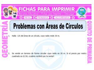Ficha de Problemas con Áreas de Círculos para Quinto de Primaria