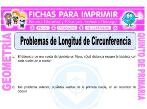 Ficha de Problemas de Longitud de Circunferencia para Quinto de Primaria